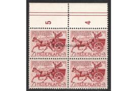 Nederland NVPH 422 Postfris FOTOLEVERING (7 1/2 + 7 1/2 cent) (Blokje van vier / MET VELRAND) Dag van de postzegel, Postkoets 1943