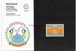 Republiek Suriname Zonnebloem Presentatiemapje PTT nr 101 Postfris Postzegelmapje Ter gelegenheid van 25 jaar Nilom Junior Chamber 1995