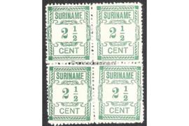 NVPH 66a/66a/66/66a Postfris (2 1/2 cent; Type I en Type II gemengd) (Blokje van vier) Hulpuitgifte 1912