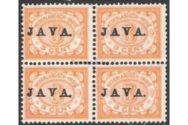 NVPH 67 Postfris (3 cent) (Blokje van vier) Zegels der uitgiften 1902/3-1908 overdrukt met zwart met JAVA 1908
