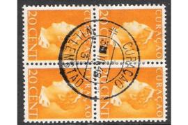 CURAÇAO WILLEMSTAD 3-III-1948 (3) op NVPH 172 (Blokje van vier) FOTOLEVERING