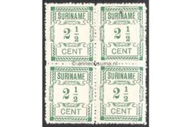 NVPH 66/66/66a/66 Postfris (2 1/2 cent; Type I en Type II gemengd) (Blokje van vier) Hulpuitgifte 1912