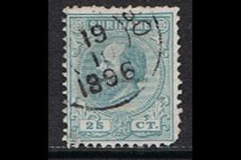 NVPH 10aA Gestempeld FOTOLEVERING (25 cent, ultramarijn) Koning Willem III Lijntanding 14 kl.g. 1870-1872