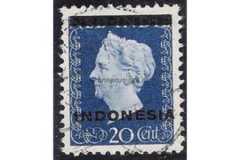 Indonesië Zonnebloem 2B / NVPH 352a Gestempeld FOTOLEVERING (20 cent) Hulpuitgifte. Opdruk Indonesië in zwart op zegels der uitgifte 1945 en 1948 1948-1949