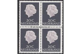 Nederland NVPH 621b Postfris FOSFOR (20 cent) (Blokje van vier) Koningin Juliana En Profil Lage waarden 1953-1967