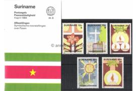 Republiek Suriname Zonnebloem Presentatiemapje PTT nr 3 Postfris Postzegelmapje Met toeslag als Paasweldadigheidszegels 1984