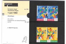 Nederland NVPH M110 (PZM110) Postfris Postzegelmapje Europese Jeugd Olympische Dagen 1993