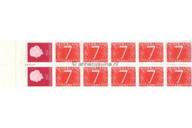 Nederland NVPH PB 1H10 Postfris (Met zwart aanlegteken) Postzegelboekje 10 x 7ct cijfer v. Krimpen + 2 x 15ct Juliana 1964