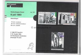 Nederland NVPH M111 (PZM111) Postfris Postzegelmapje Europa, beeldhouwkunst 1993