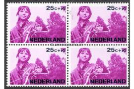 Nederland NVPH 873 Postfris (25 + 10 cent) (Blokje van vier) Kinderzegels, levensstadia kinderen 1966
