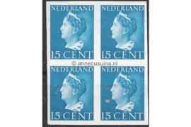Nederland NVPH 337v Postfris (15 cent) (Blokje van vier) Koningin Wilhelmina (Konijnenburg) 1940-1947