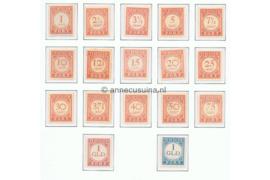 NVPH P23-P39 Ongebruikt Cijfer en waarde in rood 1913-1940