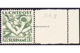 Suriname NVPH LP3 MET VELRAND Postfris FOTOLEVERING (20 cent) Mercuriuskop 1930