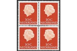Nederland NVPH 624b Postfris FOSFOR (30 cent) (Blokje van vier) Koningin Juliana En Profil Lage waarden 1953-1967
