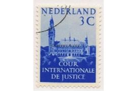 SPECIALITEIT! Nederland NVPH D28a (PROFESDIEPDRUKPAPIER) Gestempeld (3 cent) COUR INTERNATIONALE DE JUSTICE 1951-1953 Vredespaleis te 's-Gravenhage