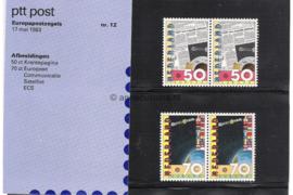 Nederland NVPH M12 (PZM12) Postfris Postzegelmapje Europa-zegels, Communicatie 1983