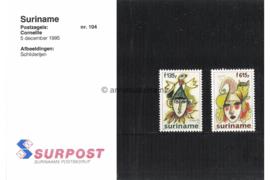 Republiek Suriname Zonnebloem Presentatiemapje PTT nr 104 (Surpost) Postfris Postzegelmapje Ter ere van de schilder Corneille. Afbeeldingen van Jester met vogel en met kat 1995