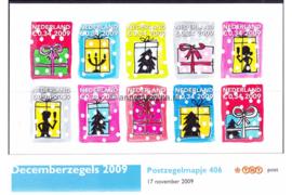 Nederland NVPH M406 (PZM406) Postfris Postzegelmapje Decemberzegels 2009