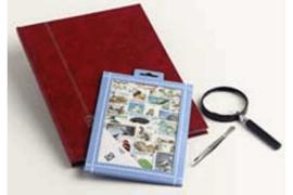 Bloemen Postzegelpakket incl. insteekboek, pincet en loupe