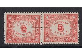 NVPH 59a Postfris FOTOLEVERING (Keerdruk 5 cent getand 11 1/2 x 10 1/2) Hulpuitgifte 1909