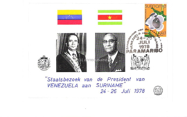 FOTOLEVERING: Ansichtkaart met Zonnebloem 160 Gestempeld Staatsbezoek van de President van Venezuela aan Suriname 24-26 Juli 1978