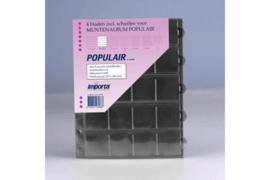 Importa Populair SETJE VAN: 4 x 20 Vaks Muntbladen met schuifjes & 4 Zwarte Schutbladen (Importa 0820z)
