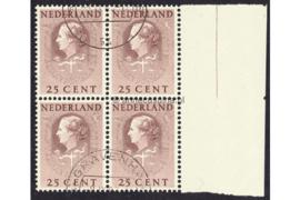 Nederland NVPH D38 Gestempeld (Met velrand Rechts) (25 cent) (Blokje van vier) COUR INTERNATIONALE DE JUSTICE 1951-1958