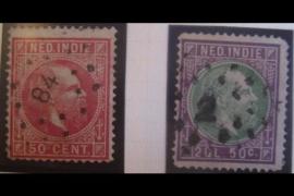 NVPH 15B en 16B Gestempeld FOTOLEVERING Koning Willem III Lijntanding 14 gr.g. 1875-1881