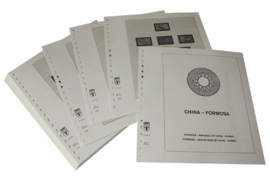 Lindner Inhouden / T-Voordruk albumbladen met folie voorbladen met stroken (Inhoud) China-Taiwan (Formosa) 1976-1981 (incl. Portzegels 1948-1998) (38 bladen) (Lindner 164-76)