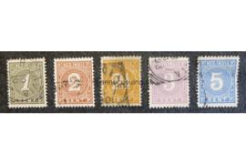 NVPH 17-20, 22 Gestempeld (bep. serie) Cijfer 1883-1890