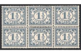 Suriname NVPH 71 Postfris (1 1/2 cent) (Blokje van zes) Cijfer 1913-1931