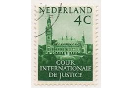 SPECIALITEIT! Nederland NVPH D29b (VIOLINO PAPIER) Gestempeld (4 cent) COUR INTERNATIONALE DE JUSTICE 1951-1953 Vredespaleis te 's-Gravenhage
