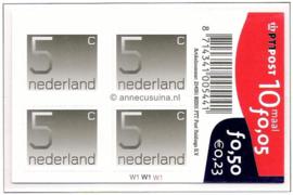 Nederland NVPH V1108b Postfris Velletje met  10 zegels van 5 cent, Cijfer Crouwel 5 cent zelfklevend 2001