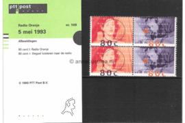Nederland NVPH M109 (PZM109) Postfris Postzegelmapje Radio Oranje 1993
