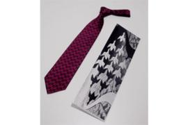 DAVO M.C. Escher zijden stropdas rood