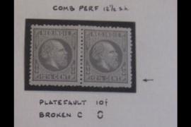 NVPH 10H Ongebruikt FOTOLEVERING paartje met Plaatfout 10f (12,5 cent) Koning Willem III
