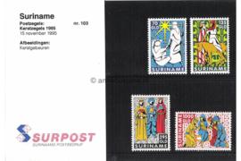Republiek Suriname Zonnebloem Presentatiemapje PTT nr 103 Postfris Postzegelmapje Kerstzegels. Het kerstverhaal. 1995