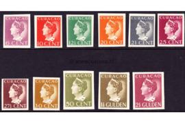 Curaçao NVPH 141-143/145-152 Ongetande proeven Ongebruikt Koningin Wilhelmina (Konijnenburg) 1941-1942