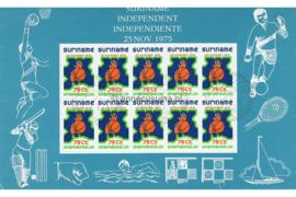 Zonnebloem 6 Gestempeld (10x75 cent) Siervel Onafhankelijkheid Suriname 1975