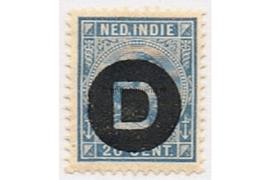 NVPH D4  Ongebruikt (20 cent) Frankeerzegel der uitgiften 1892-1897, overdukt in zwart 1911