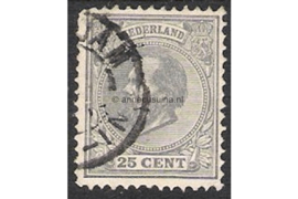 Nederland NVPH 26 (26La Kamtanding 12 1/2 gr.g./grijslila) Gestempeld FOTOLEVERING (25 cent) Koning Willem III 1888-1891