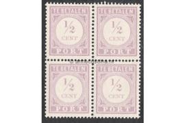 NVPH P17 Postfris (1/2 cent) (Blokje van vier) Cijfer en waarde in lila. Uitsluitend type I 1913-1931
