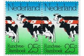 Nederland NVPH 1052 Postfris Paar Rundvee-Stamboek Gelegenheidszegels 1974