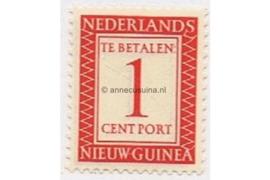 Nederlands Nieuw Guinea NVPH P1 Postfris (1 cent) Cijfer en waarde in rechthoek 1957