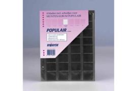 Importa Populair SETJE VAN: 4 x 32 Vaks Muntbladen met schuifjes & 4 Zwarte Schutbladen (Importa 0818z)