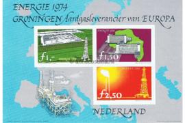 Postfris Zegelvel Ongetande versie f 2,50, f 1,50 en f 1,- Energie 1974 Groningen Aardgasleverancier van Europa