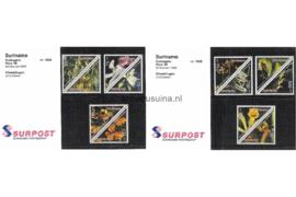 Republiek Suriname Zonnebloem Presentatiemapje PTT nr 105A en 105B Postfris Postzegelmapje Orchideeën 1996