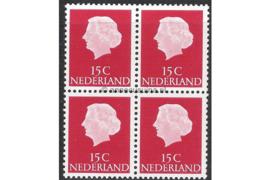 Nederland NVPH 619b Postfris FOSFOR (15 cent) (Blokje van vier) Koningin Juliana En Profil Lage waarden 1953-1967