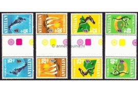 Nederlandse Antillen NVPH 576a-579a Postfris FOTOLEVERING Keerdrukken MET ROZE GELE KLEURSYMBOLEN Sport 1978