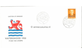 Nederland NVPH E12 Onbeschreven FOTOLEVERING (Met auto postkantoor stempel nummer 3) 1e Dag-enveloppe Watersnood 1953
